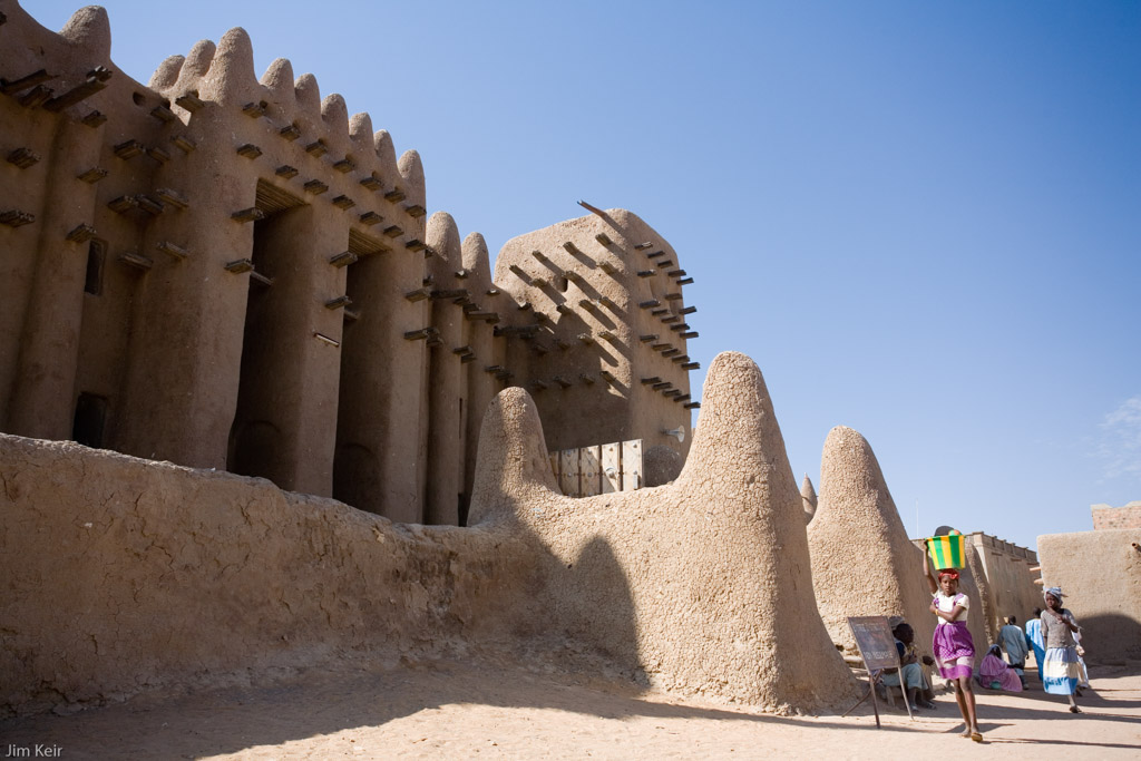Outside the walls of the mosque in Djenne, Mali