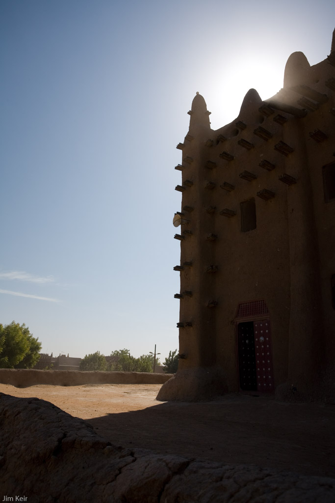 Early morning shadows near the mosque in Djenne