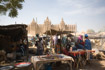 Market day bustle in front of the Djenne mosque
