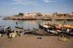 Pinasse boats awaiting loading at the market in Mopti