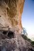 Crumbling abandoned Dogon houses under an overhang on the cliffside of Bandiagara, Mali