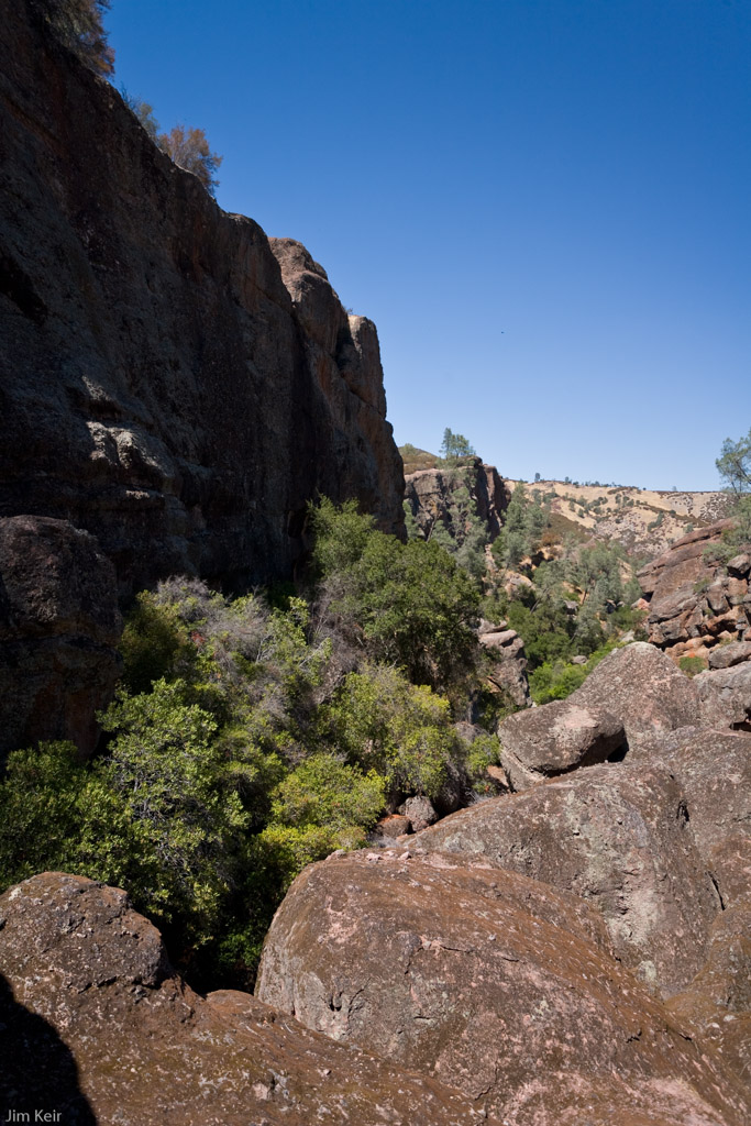 Steep cliffs of a gully in Pinnacles National Park, California