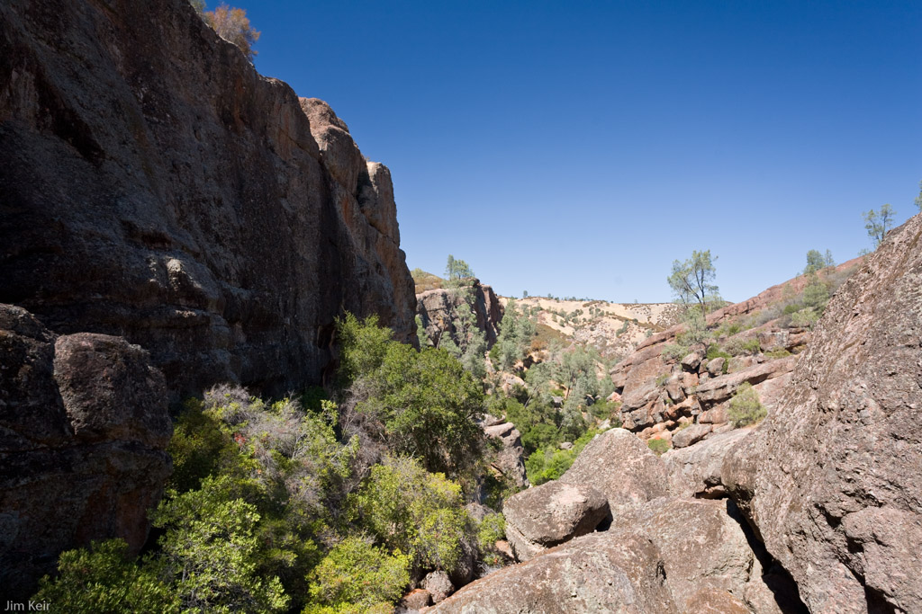 Steep cliffs of a gully in Pinnacles National Park, California